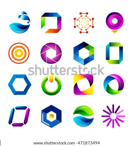 Abstract icons based on the letter O