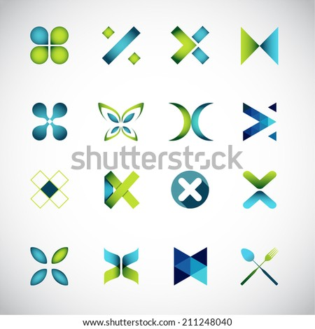 Abstract icons based on the letter X - stock vector