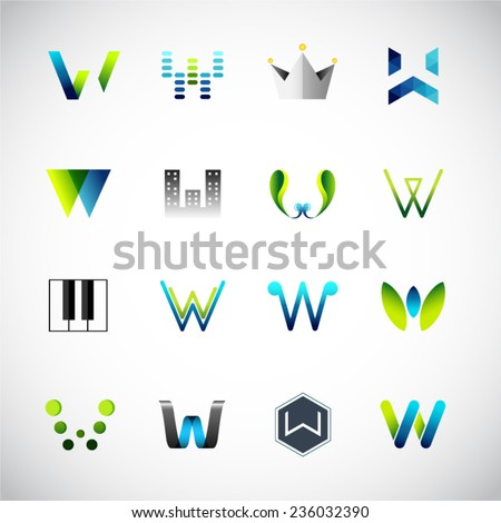 Abstract icons design based on the letter W - stock vector