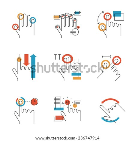 Abstract icons of common used multitouch and touch screen gestures for digital tablets or smartphone. Unusual flat design line icons set unique art vector illustration concept. - stock vector