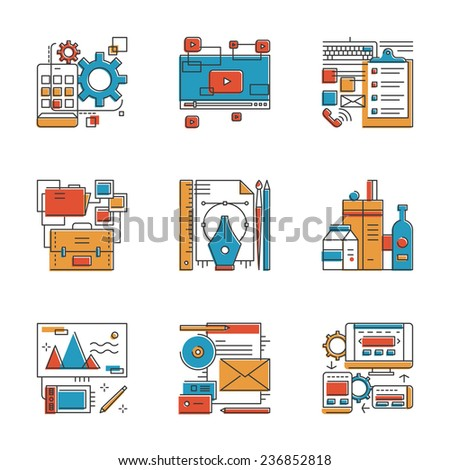 Abstract icons of design agency services, mobile apps development, brand identity, office workflow, website seo optimization. Unusual flat design line icons set unique art vector illustration concept. - stock vector