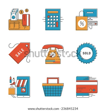 Abstract icons of e-commerce payments, finance and shopping objects, internet marketing product and buying via internet. Unusual flat design line icons set unique art vector illustration concept. - stock vector