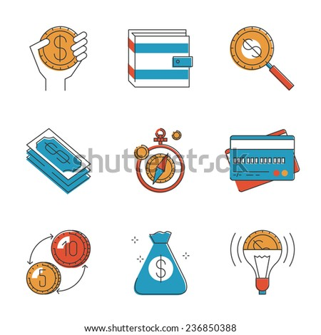 Abstract icons of financial investment for development business project, personal finances, global foreign exchange market. Unusual flat design line icons set unique art vector illustration concept. - stock vector
