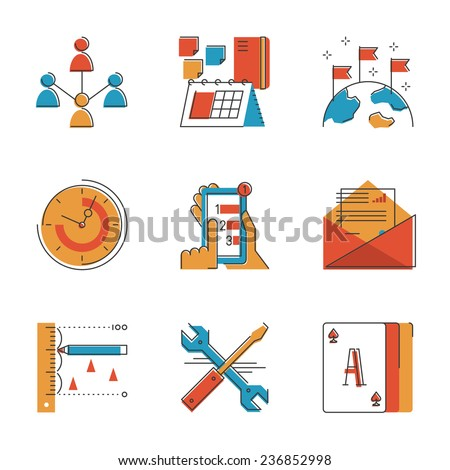 Abstract icons of global business people communication, office workflow elements, support tools, professional work schedule. Unusual flat design line icons set unique art vector illustration concept. - stock vector