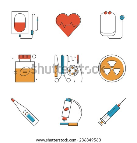Abstract icons of medical items and surgery tools, healthcare equipment, medicine research and diagnostics, blood transfusion. Unusual flat design line icons set unique art vector illustration concept - stock vector