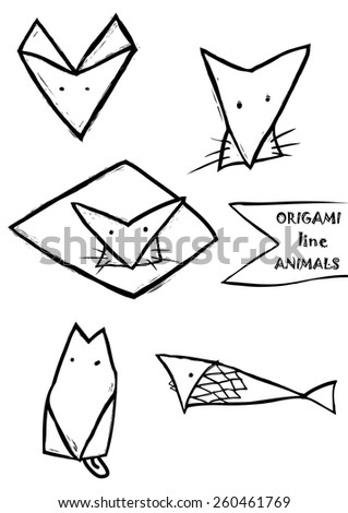 Abstract Icons Of Origami Animals Hand Drawn Lioncatdog And Fish