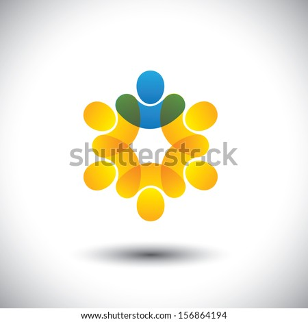 Abstract icons of people and leader in circle - leadership concept. This vector graphic also represents concept of company employees and manager, supervisor and staff, community members & leader, etc - stock vector