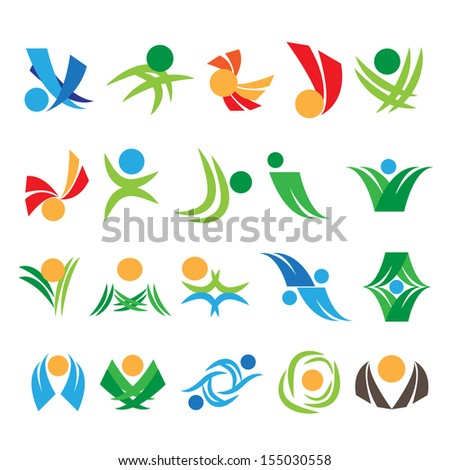 Abstract Icons - Set - Isolated On White Background - Vector Illustration, Graphic Design Editable For Your Design. - stock vector