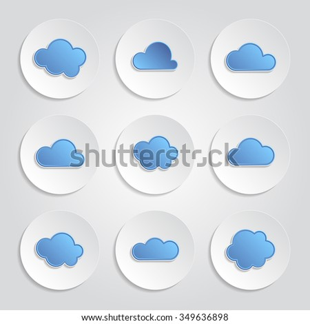 Abstract icons - set of blue clouds