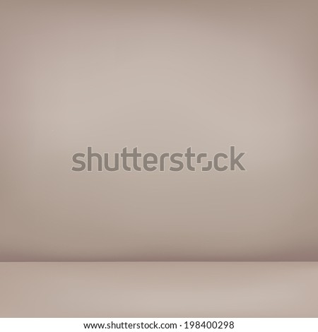 abstract illustration background texture of light coffee gradient wall, flat floor in empty room.  - stock vector