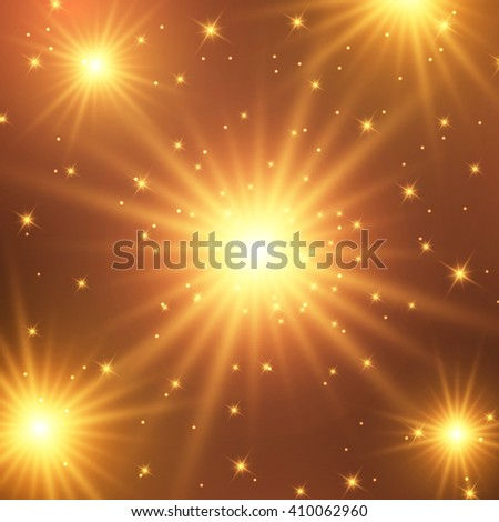 Abstract illustration - bright fiery explosion in space - stock vector