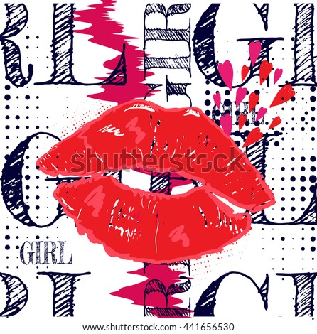 Abstract illustration for t-shirts. Background with kiss red lips and creative design for girls. Fashion illustration of a figure in the art Nouveau style for clothes. Girlish print with  lips, hearts - stock vector