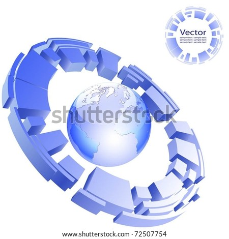 Abstract illustration of a business background with a globe earth. Vector.