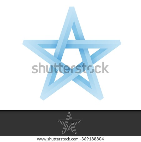 Abstract illustration of a five pointed star in infinite cycle form - stock vector