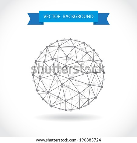 Abstract illustration of a molecular sphere - stock vector