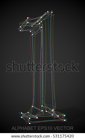 Abstract illustration of a Multicolor sketched 1 with Transparent Shadow. Hand drawn 3D 1 for your design. EPS 10 vector illustration.
