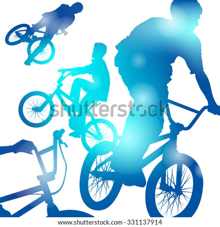 Abstract illustration of a Young Jumping and Freestyling on BMX Bikes through a haze of Cool Blue blurs. - stock vector