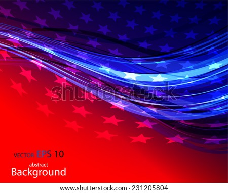 Abstract illustration of American flag - stock vector