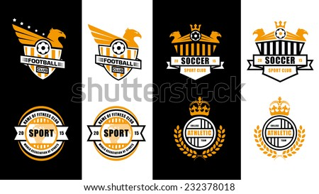 abstract illustration of badges set of logos, labels, concept ideas for sports clubs , college team - stock vector