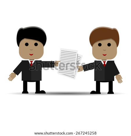 Abstract illustration of business meeting of two people - stock vector
