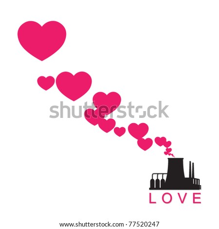 Abstract illustration of factory with hearts. Vector. Place for your text. - stock vector