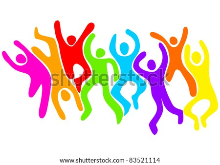 Abstract illustration of iconic figures jumping and dancing - stock vector