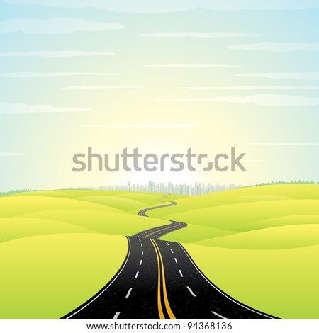 Abstract Illustration of Landscape with Highway. Picture of Road Going Toward the Skyscrapers in a Modern City at Sunrise. Vector Image. - stock vector