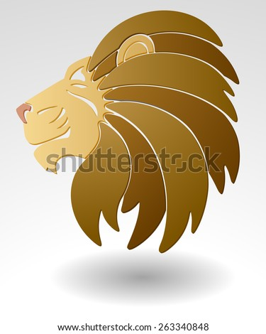 Abstract illustration of lion head, team mascot or logo, EPS 8. - stock vector