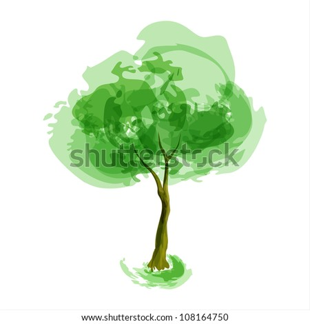 Abstract illustration of stylized tree. Spring season