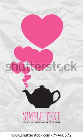 Abstract illustration of teapot with hearts on a paper-background. Place for your text. - stock vector