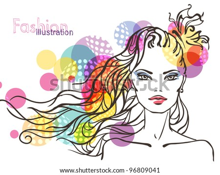 Abstract illustration of woman's face - stock vector