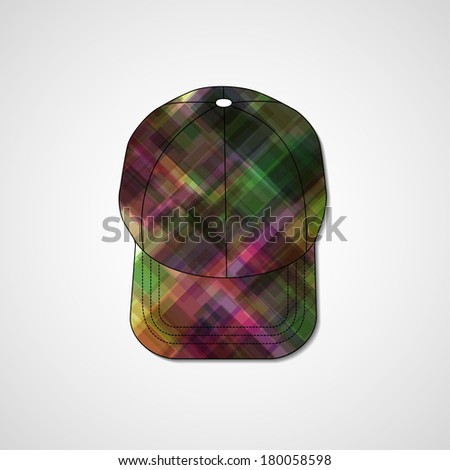 Abstract illustration on peaked cap, template editable. - stock vector