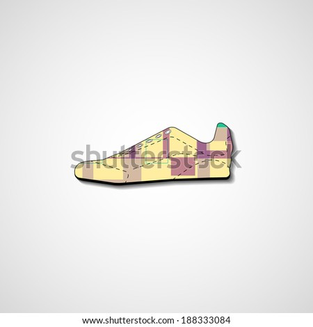 Abstract illustration on sneakers, template editable.