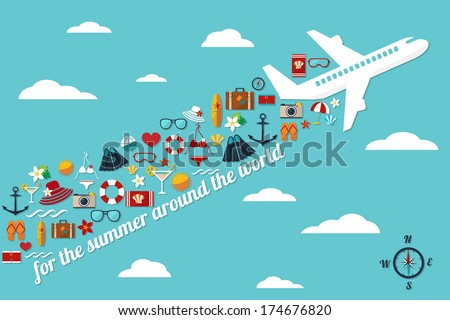 "abstract illustration with airplane in the blue sky with fall summer things and slogan ""for the summer around the world"" vector card template - stock vector"