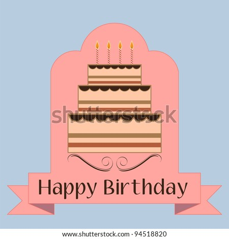 Abstract  illustration with birthday cake and candles. Birthday invitation - stock vector