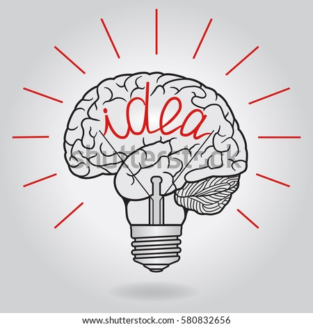 Abstract Illustration With Brain And Light Bulb   Idea. Design Concept For  Invention And Innovation