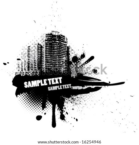 Abstract illustration with city - stock vector