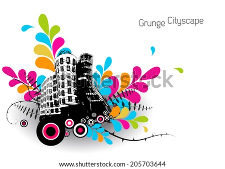 Abstract illustration with city. - stock vector