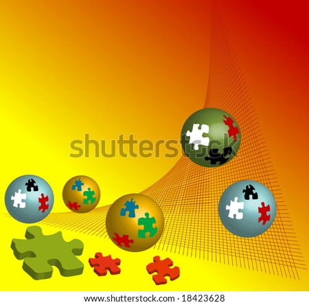 Abstract illustration with colored puzzle balls rolling down from a red net - stock vector