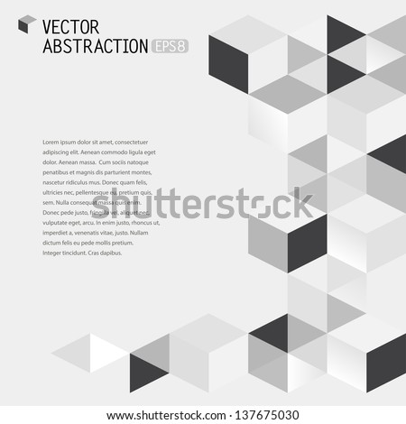 abstract illustration with flying cubes, vector background - stock vector