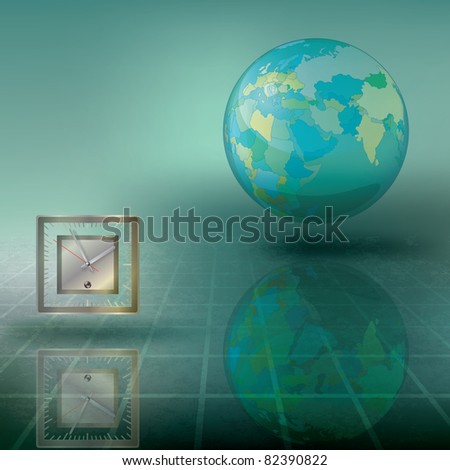 abstract illustration with globe and clock on green - stock vector
