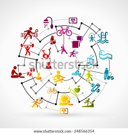 Abstract illustration with healthy life icon set - stock vector