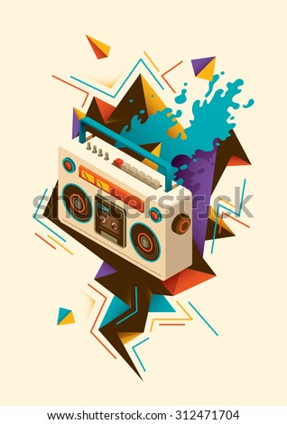 Abstract illustration with isometric radio. Vector illustration. - stock vector