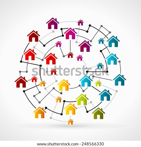 Abstract illustration with real estate icon set - stock vector
