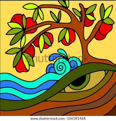abstract illustration with red apple tree - stock vector