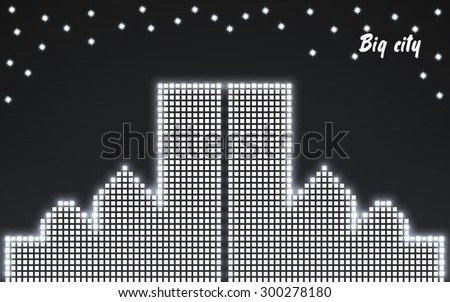 Abstract image of a large night city in neon. Vector illustration. Eps 10  - stock vector