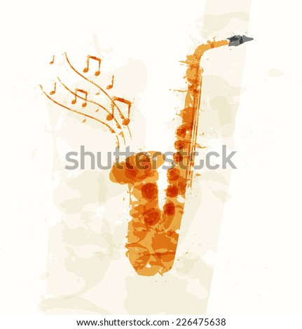 Abstract image of a saxophone multicolored spots - stock vector