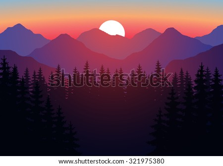 Abstract image of a sunset, the dawn sun over the mountains in the background and a thick forest down to the valley in the foreground. Mountain landscape. Forest mountains in the background. vector - stock vector