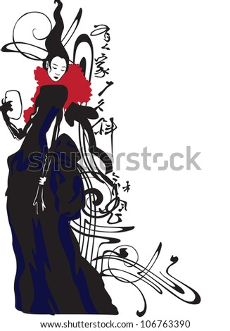 abstract image of Asian girls, frame, pattern, high fashion - stock vector