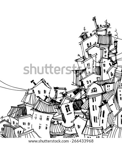 Abstract image of the city. hand-drawn home. - stock vector